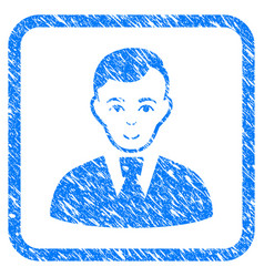 Clerk guy framed stamp vector