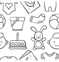 Collection stock of baby theme doodles vector