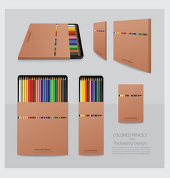 color pencils with packaging design realistic vector image vector image