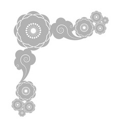 decorative border with flowers and clouds vector image