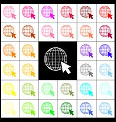 Earth globe with cursor felt-pen 33 vector