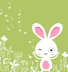 Easter florals with bunny vector