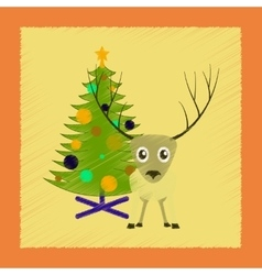 flat shading style icon Christmas tree deer vector image vector image