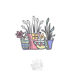 Flower in pot logo design vector