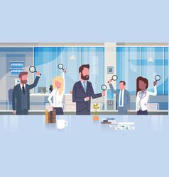 group of business people holding magnifying glass vector image