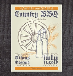 Hand drawn vintage invitation on country barbecue vector