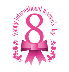 Happy international womens day eight bow hearts vector