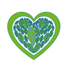 Heart with leaves vector