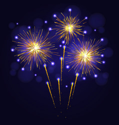 Holidays golden yellow fireworks vector