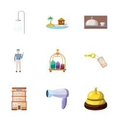Hostel accommodation icons set cartoon style vector image vector image