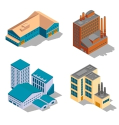 Isometric factory and industrial buildings set vector