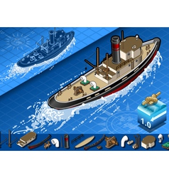 isometric old tugboat vector image