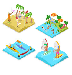 Isometric outdoor sea beach activity kayaking vector