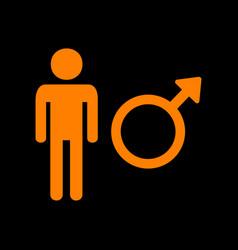 male sign orange icon on black vector image