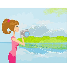 Nature photographer taking pictures outdoors vector