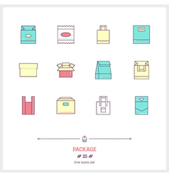 Package line icons set vector