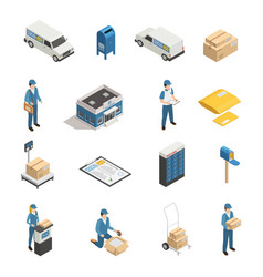 postal service isometric icons set vector image vector image