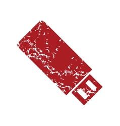 Red grunge usb stick logo vector image