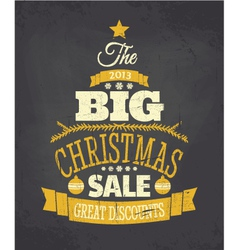Retro chalkboard style christmas sale poster vector