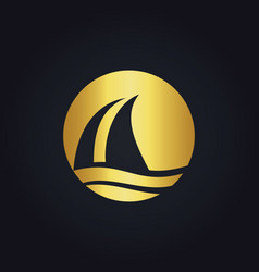 Sail boat water beach travel gold logo vector