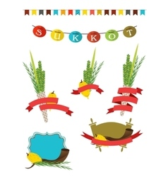 Sukkot collection - four symbols of jewish vector