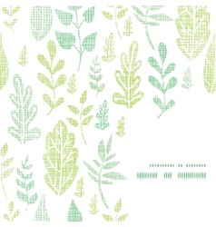Textile textured spring leaves frame corner vector
