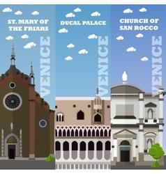 Venice tourist landmark banners vector