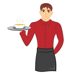 Waiter with soup vector image vector image