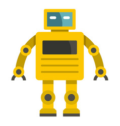Yellow humanoid robot icon isolated vector