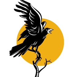 Raven perching on branch retro vector