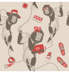 Seamless pattern with monkey vector