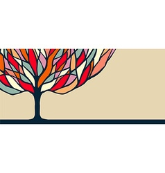 Colorful tree nature art for banner vector