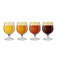Beer glass set lager and ale amber stout vector