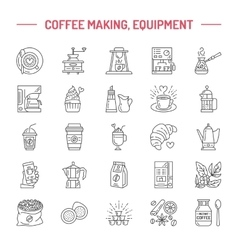 Line icons of coffee making equipment vector