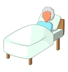 Old woman in bed icon cartoon style vector