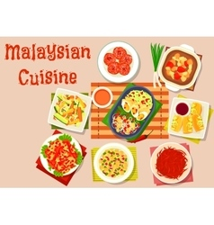 Malaysian cuisine salad and soup dishes icon vector
