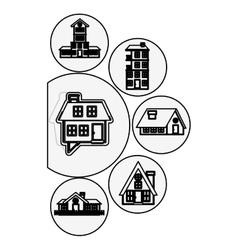 Silhouette houses logo design in bubbles vector