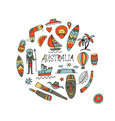 Australia icons set sketch for your design vector