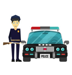 flat design police officer with car vector image