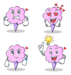 Cotton candy character set with angry love waiting vector