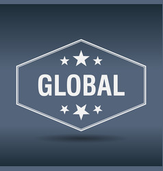 Global hexagonal white vintage retro style label vector