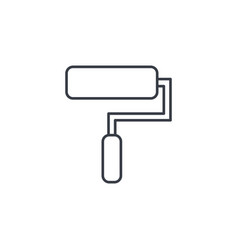 Paint roller tool thin line icon linear vector