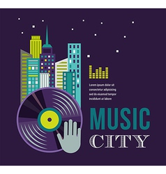 Music and night life of city landscape background vector image