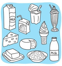 Diary and milk products vector