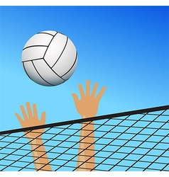Volleyball player hands over the net with ball vector