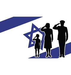 Israel soldier family salute vector