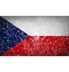 Flags czech republic with broken glass texture vector