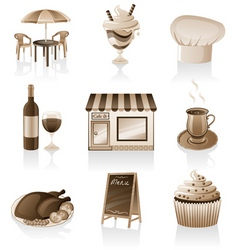 Cafe icon set vector