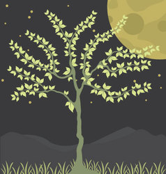 Tree at night background vector