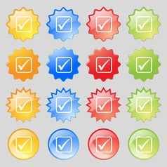 A check mark icon sign big set of 16 colorful vector